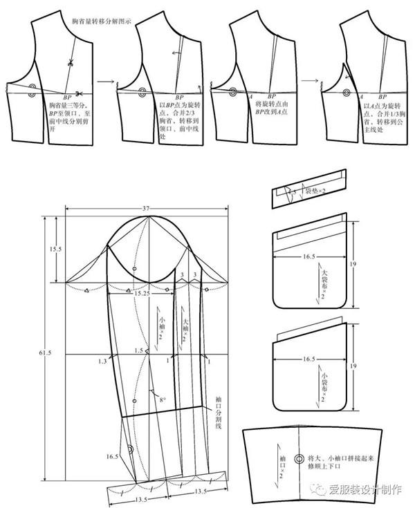 长款修身连帽羽绒服的结构图与充绒明细